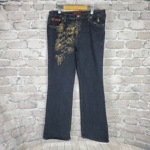 Vintage baby phat Jeans 16 Plus Embroidered Gold